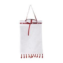 Organza Sachet white with red